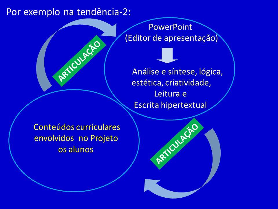 PowerPoint (Editor de apresentação) Análise e síntese, lógica, estética, criatividade, Leitura e Escrita hipertextual Por exemplo na tendência-2: Cont