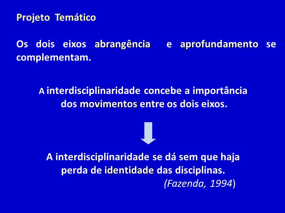 Projeto Temático abrangênciaaprofundamento Os dois eixos abrangência e aprofundamento se complementam. A interdisciplinaridade concebe a importância m