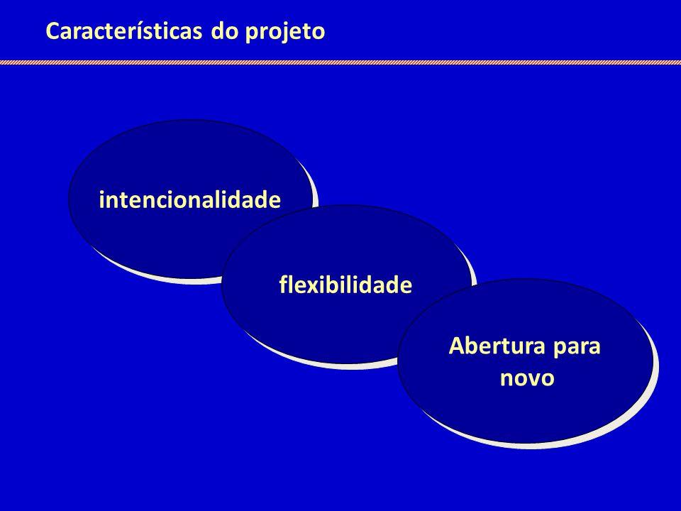 Características do projeto intencionalidade flexibilidade Abertura para novo Abertura para novo