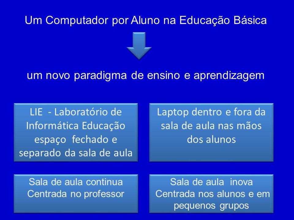 Um Computador por Aluno na Educação Básica um novo paradigma de ensino e aprendizagem LIE - Laboratório de Informática Educação espaço fechado e separ