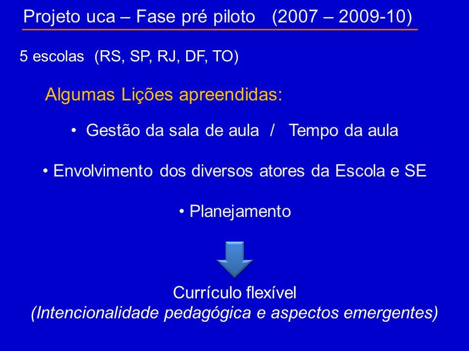 Projeto uca – Fase pré piloto (2007 – 2009-10) Algumas Lições apreendidas: 5 escolas (RS, SP, RJ, DF, TO) Gestão da sala de aula / Tempo da aula Envolvimento dos diversos atores da Escola e SE Planejamento Currículo flexível (Intencionalidade pedagógica e aspectos emergentes)