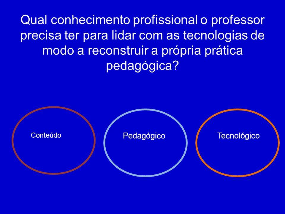 Qual conhecimento profissional o professor precisa ter para lidar com as tecnologias de modo a reconstruir a própria prática pedagógica? Pedagógico Co