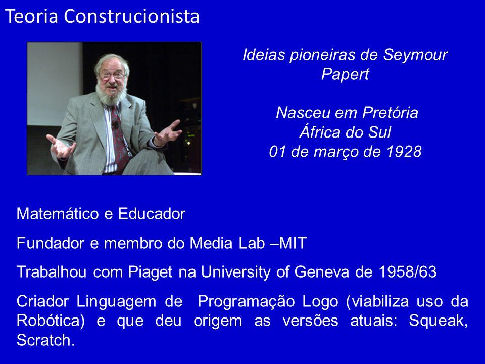 Teoria Construcionista Matemático e Educador Fundador e membro do Media Lab –MIT Trabalhou com Piaget na University of Geneva de 1958/63 Criador Linguagem de Programação Logo (viabiliza uso da Robótica) e que deu origem as versões atuais: Squeak, Scratch.