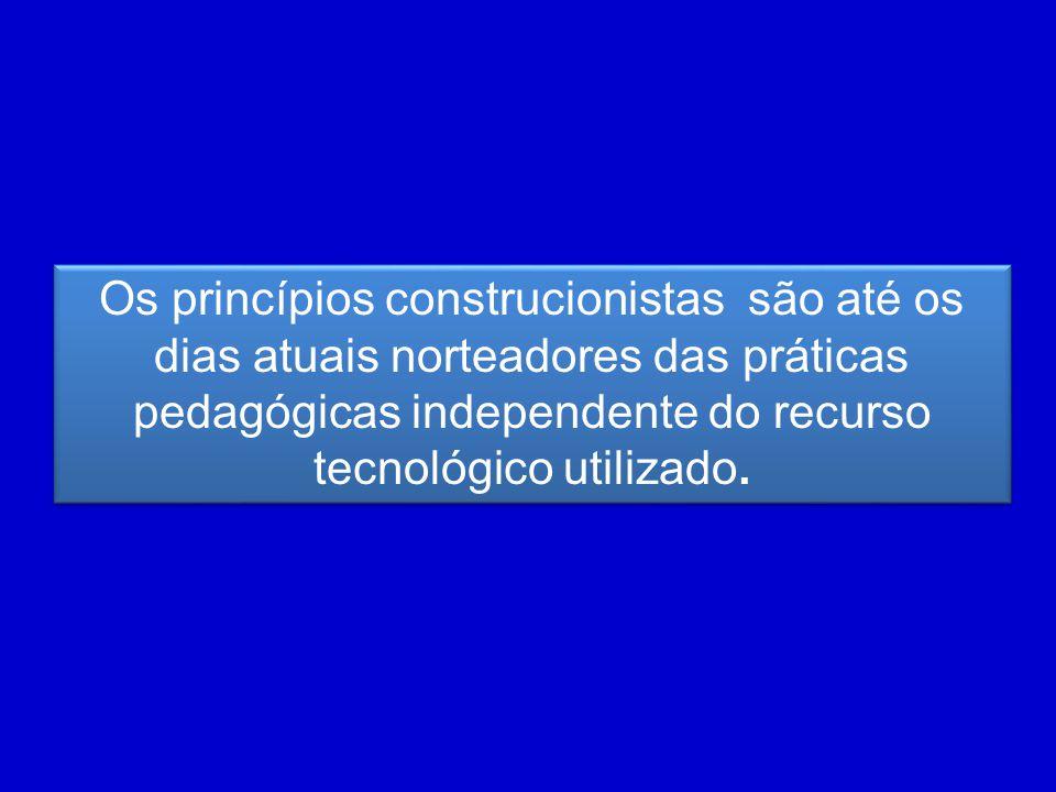 Os princípios construcionistas são até os dias atuais norteadores das práticas pedagógicas independente do recurso tecnológico utilizado.