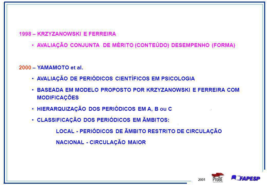 2001 1998 – KRZYZANOWSKI E FERREIRA AVALIAÇÃO CONJUNTA DE MÉRITO (CONTEÚDO) DESEMPENHO (FORMA) 2000 – YAMAMOTO et al. AVALIAÇÃO DE PERIÓDICOS CIENTÍFI