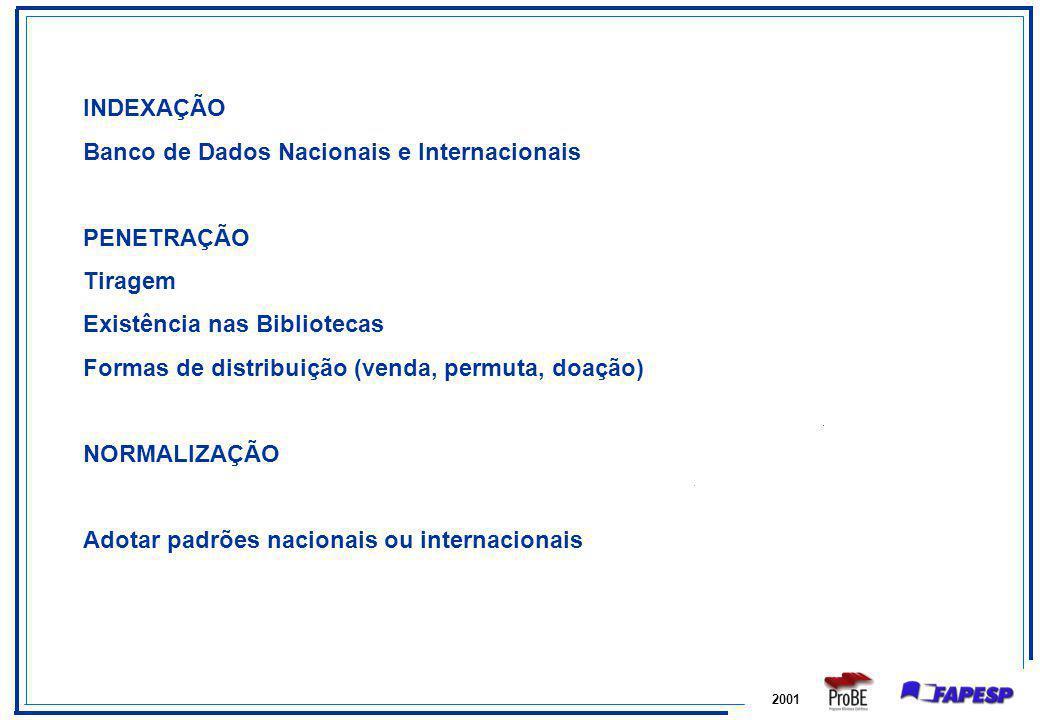 2001 INDEXAÇÃO Banco de Dados Nacionais e Internacionais PENETRAÇÃO Tiragem Existência nas Bibliotecas Formas de distribuição (venda, permuta, doação)