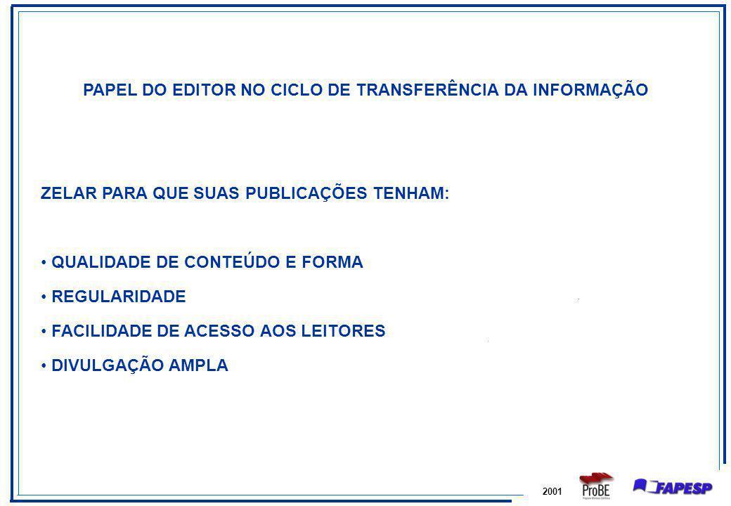2001 PAPEL DO EDITOR NO CICLO DE TRANSFERÊNCIA DA INFORMAÇÃO ZELAR PARA QUE SUAS PUBLICAÇÕES TENHAM: QUALIDADE DE CONTEÚDO E FORMA REGULARIDADE FACILI