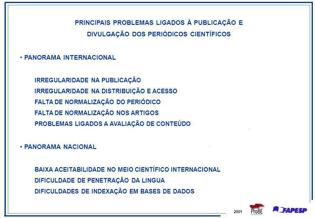 2001 PRINCIPAIS PROBLEMAS LIGADOS À PUBLICAÇÃO E DIVULGAÇÃO DOS PERIÓDICOS CIENTÍFICOS PANORAMA INTERNACIONAL IRREGULARIDADE NA PUBLICAÇÃO IRREGULARID