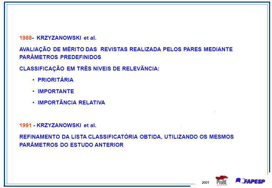 2001 1988- KRZYZANOWSKI et al. AVALIAÇÃO DE MÉRITO DAS REVISTAS REALIZADA PELOS PARES MEDIANTE PARÂMETROS PREDEFINIDOS CLASSIFICAÇÃO EM TRÊS NIVEIS DE