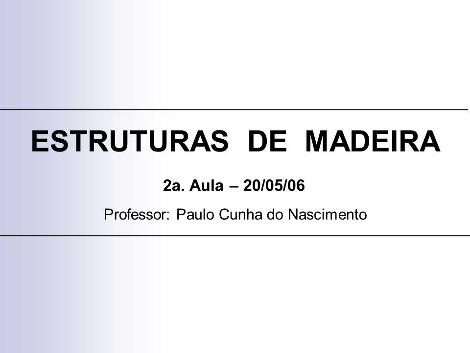ESTRUTURAS DE MADEIRA Professor: Paulo Cunha do Nascimento 2a. Aula – 20/05/06