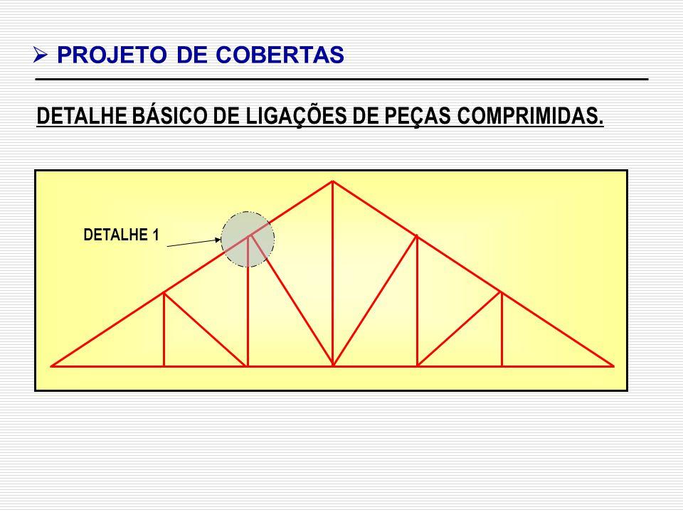 DETALHE BÁSICO DE LIGAÇÕES DE PEÇAS COMPRIMIDAS. PROJETO DE COBERTAS DETALHE 1
