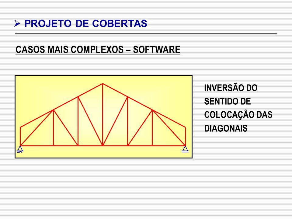 CASOS MAIS COMPLEXOS – SOFTWARE PROJETO DE COBERTAS INVERSÃO DO SENTIDO DE COLOCAÇÃO DAS DIAGONAIS