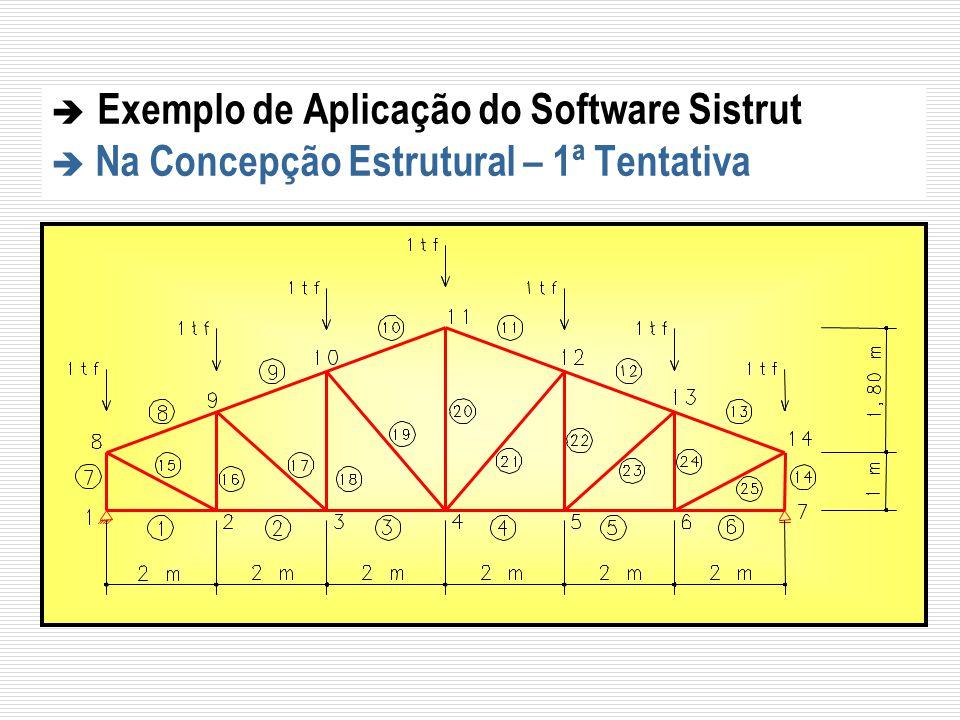 Exemplo de Aplicação do Software Sistrut Na Concepção Estrutural – 1ª Tentativa