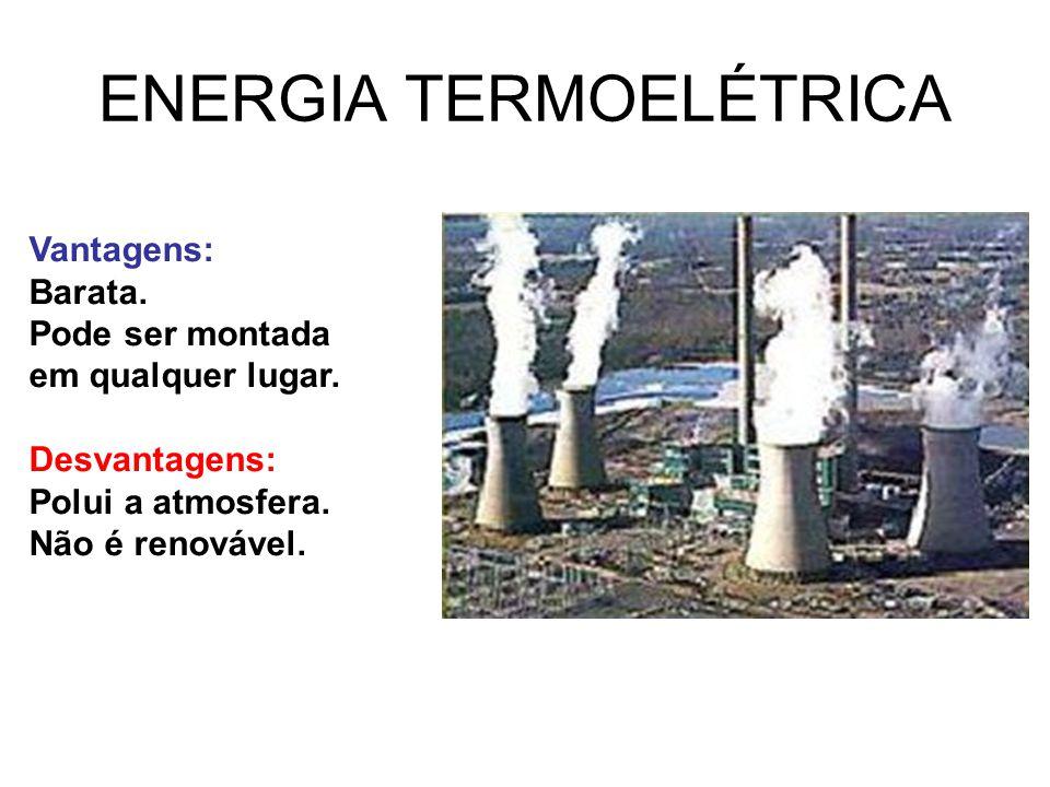 ENERGIA TERMOELÉTRICA Vantagens: Barata. Pode ser montada em qualquer lugar. Desvantagens: Polui a atmosfera. Não é renovável.