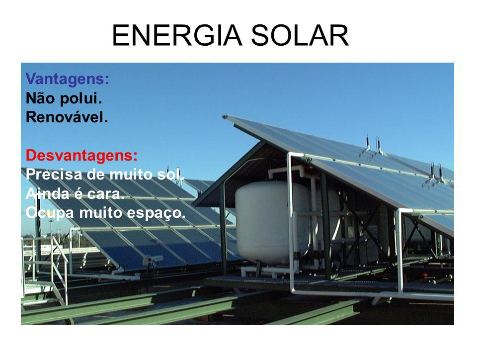 ENERGIA SOLAR Vantagens: Não polui. Renovável. Desvantagens: Precisa de muito sol. Ainda é cara. Ocupa muito espaço.