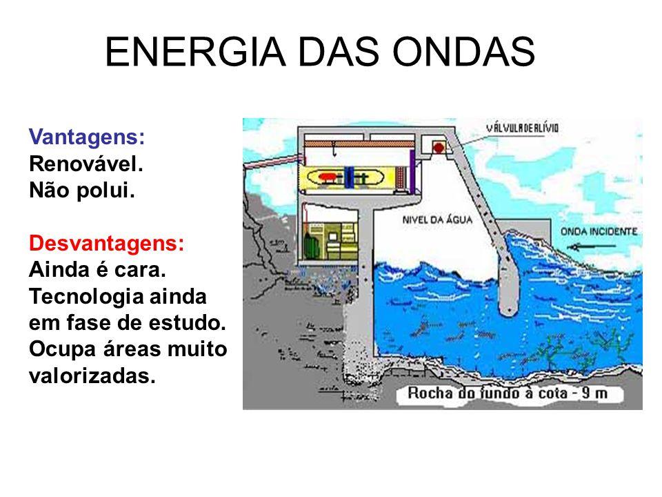 ENERGIA DAS ONDAS Vantagens: Renovável. Não polui. Desvantagens: Ainda é cara. Tecnologia ainda em fase de estudo. Ocupa áreas muito valorizadas.