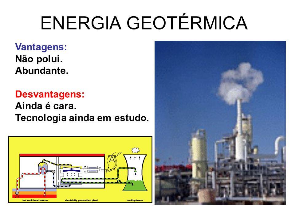 ENERGIA GEOTÉRMICA Vantagens: Não polui. Abundante. Desvantagens: Ainda é cara. Tecnologia ainda em estudo.
