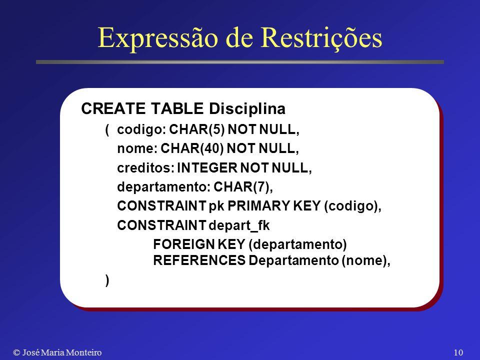 © José Maria Monteiro9 Ling. de Definição de Dados CREATE TABLE : criação de uma relação ALTER TABLE : adição de atributos a uma relação DROP TABLE :