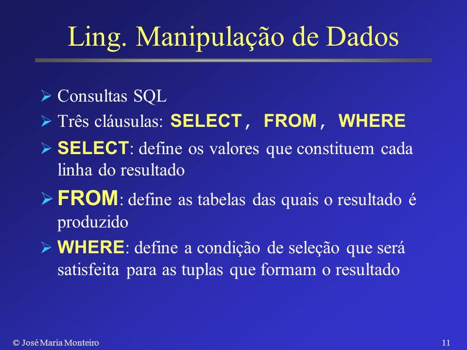 © José Maria Monteiro10 Expressão de Restrições CREATE TABLE Disciplina (codigo: CHAR(5) NOT NULL, nome: CHAR(40) NOT NULL, creditos: INTEGER NOT NULL