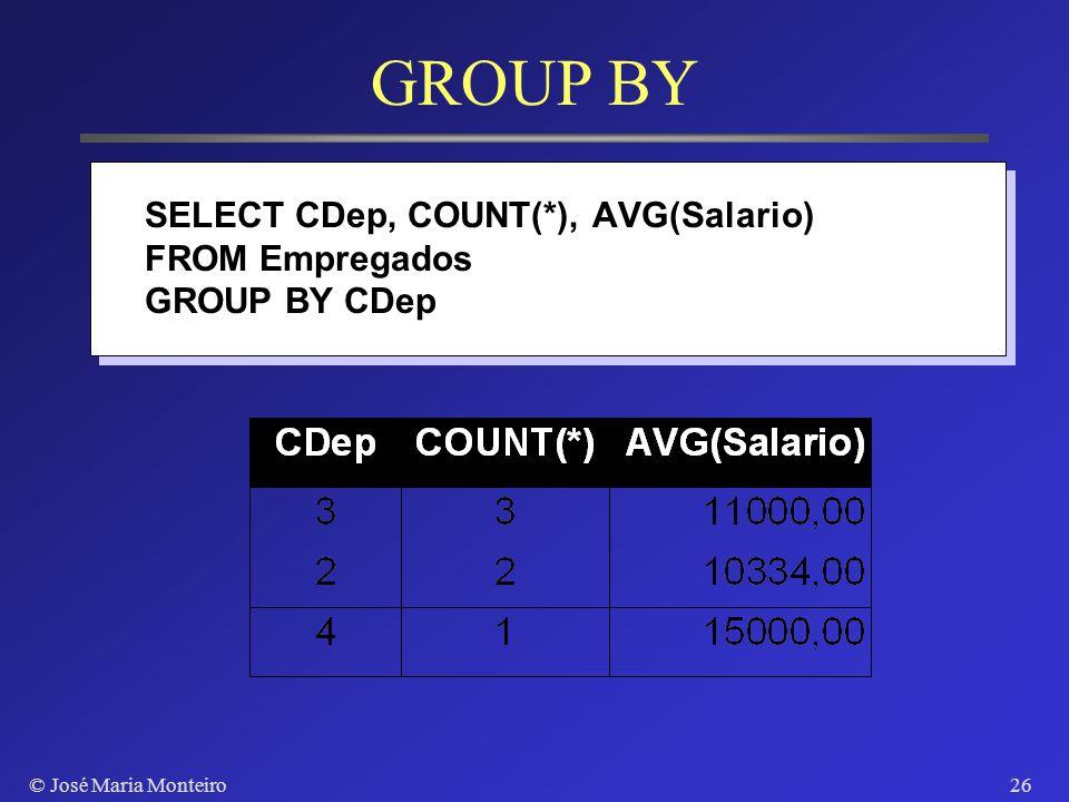© José Maria Monteiro25 Agrupamento de Tuplas Subgrupo de tuplas segundo o valor de um atributo Aplicar funções de agregação sobre subgrupos Atributo