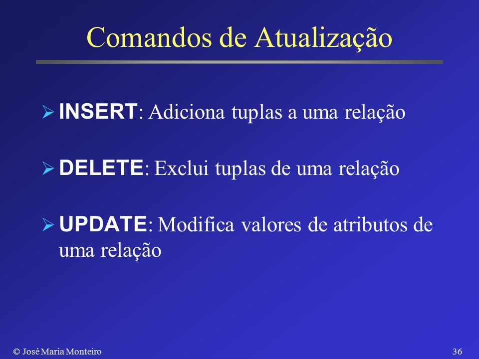 © José Maria Monteiro35 Contains e Not Contains SELECT DISTINCT S.cliente-nome FROM deposito S WHERE (SELECT T.agencia-nome FROM deposito T WHERE S.cl