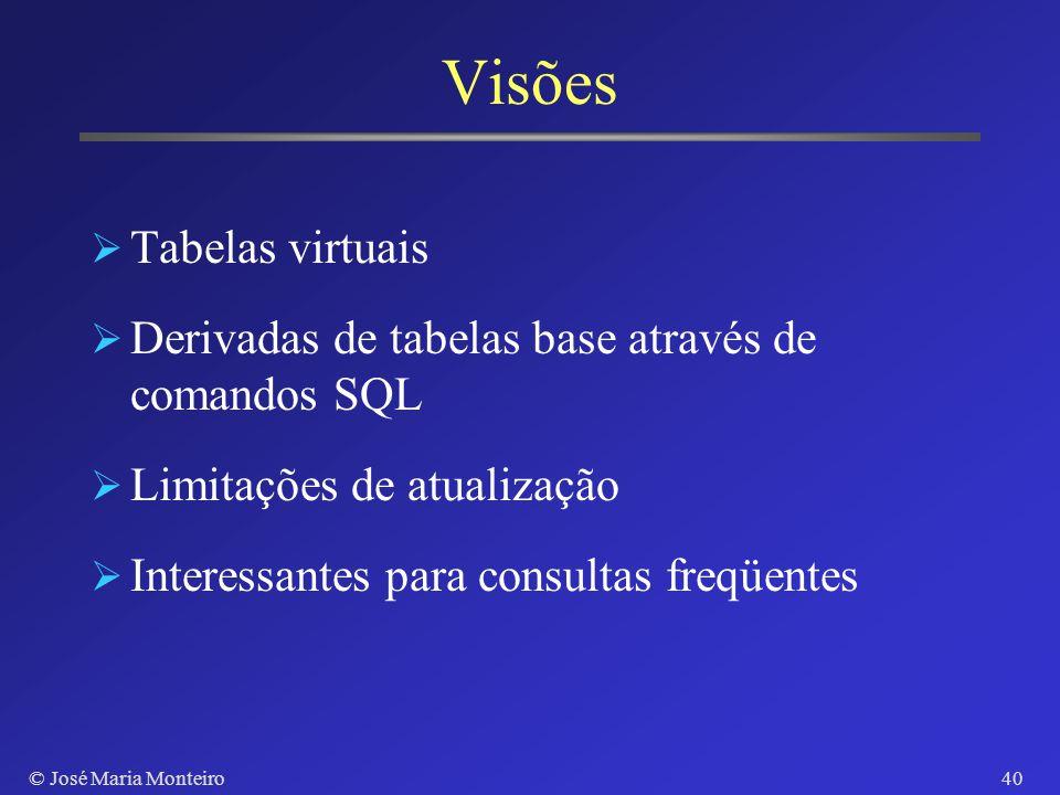 © José Maria Monteiro39 Comando UPDATE UPDATE Projetos SET Cidade = Taíba WHERE CDep = 3 UPDATE Empregados SET Salario = Salario * 1.5 WHERE CDep IN (