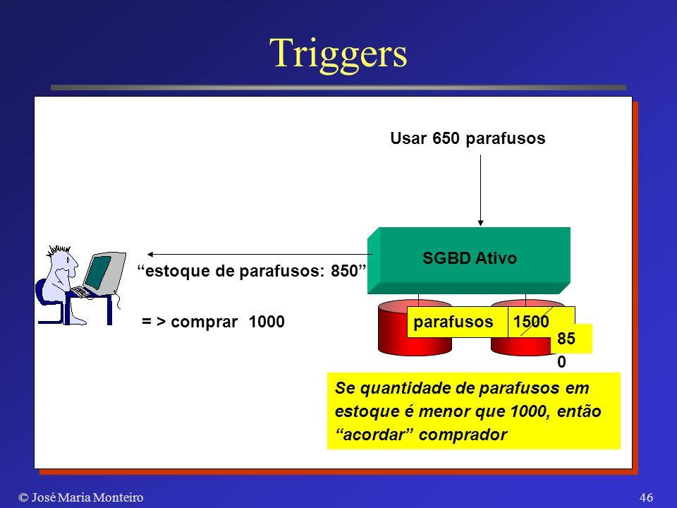 © José Maria Monteiro45 Triggers insert update delete Eventos Comando SQL Stored Procedure Reação automática a eventos monitorados
