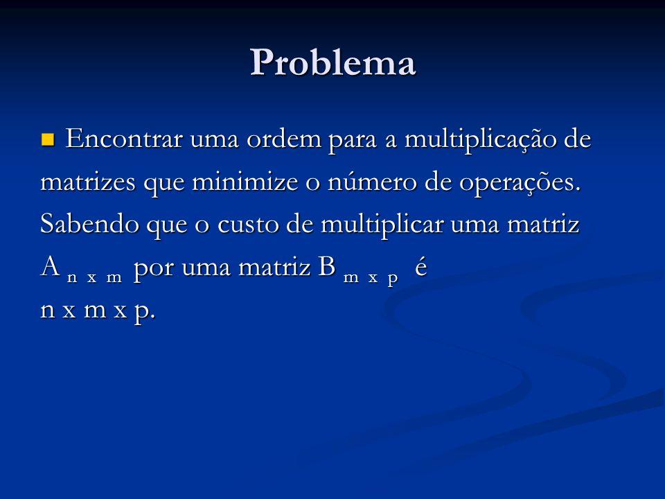 Problema Encontrar uma ordem para a multiplicação de Encontrar uma ordem para a multiplicação de matrizes que minimize o número de operações. Sabendo