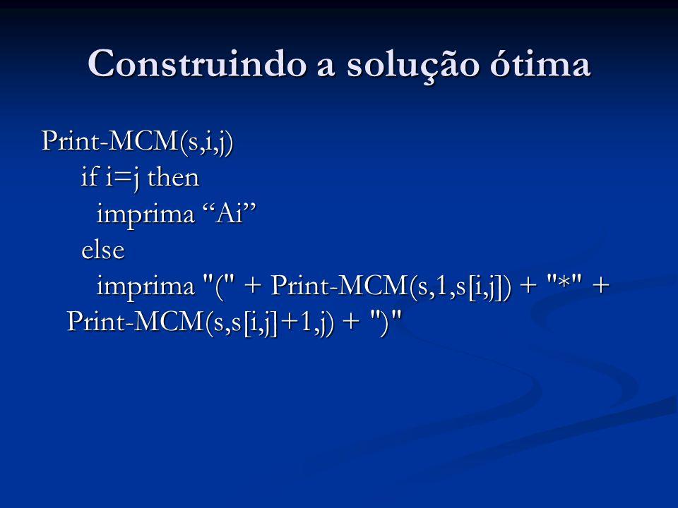 Construindo a solução ótima Print-MCM(s,i,j) if i=j then imprima Ai else imprima ( + Print-MCM(s,1,s[i,j]) + * + Print-MCM(s,s[i,j]+1,j) + )