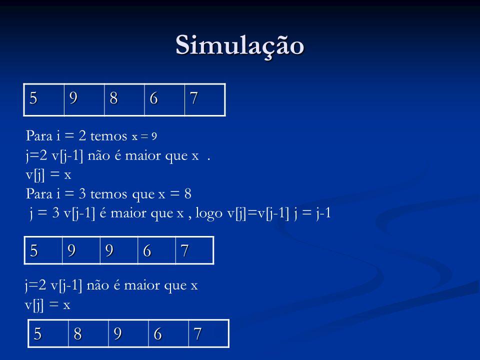 Simulação 59867 59967 Para i = 2 temos x = 9 j=2 v[j-1] não é maior que x.