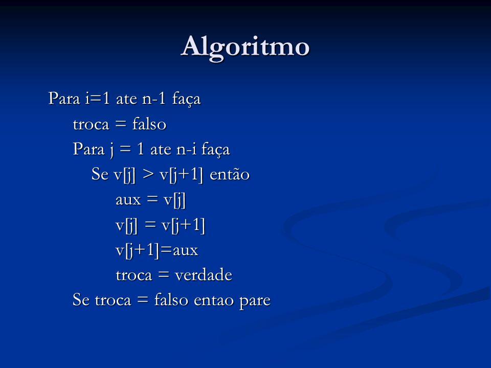 Algoritmo Para i=1 ate n-1 faça troca = falso troca = falso Para j = 1 ate n-i faça Para j = 1 ate n-i faça Se v[j] > v[j+1] então Se v[j] > v[j+1] então aux = v[j] aux = v[j] v[j] = v[j+1] v[j] = v[j+1] v[j+1]=aux v[j+1]=aux troca = verdade troca = verdade Se troca = falso entao pare Se troca = falso entao pare