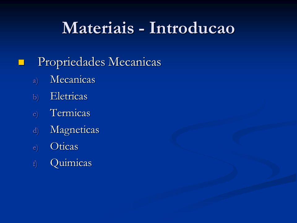 Materiais - Introducao Propriedades Mecanicas Propriedades Mecanicas a) Mecanicas b) Eletricas c) Termicas d) Magneticas e) Oticas f) Quimicas