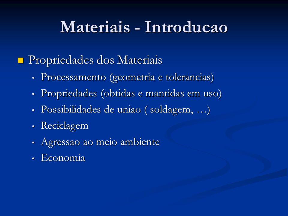 Materiais - Introducao Propriedades dos Materiais Propriedades dos Materiais Processamento (geometria e tolerancias) Processamento (geometria e tolera