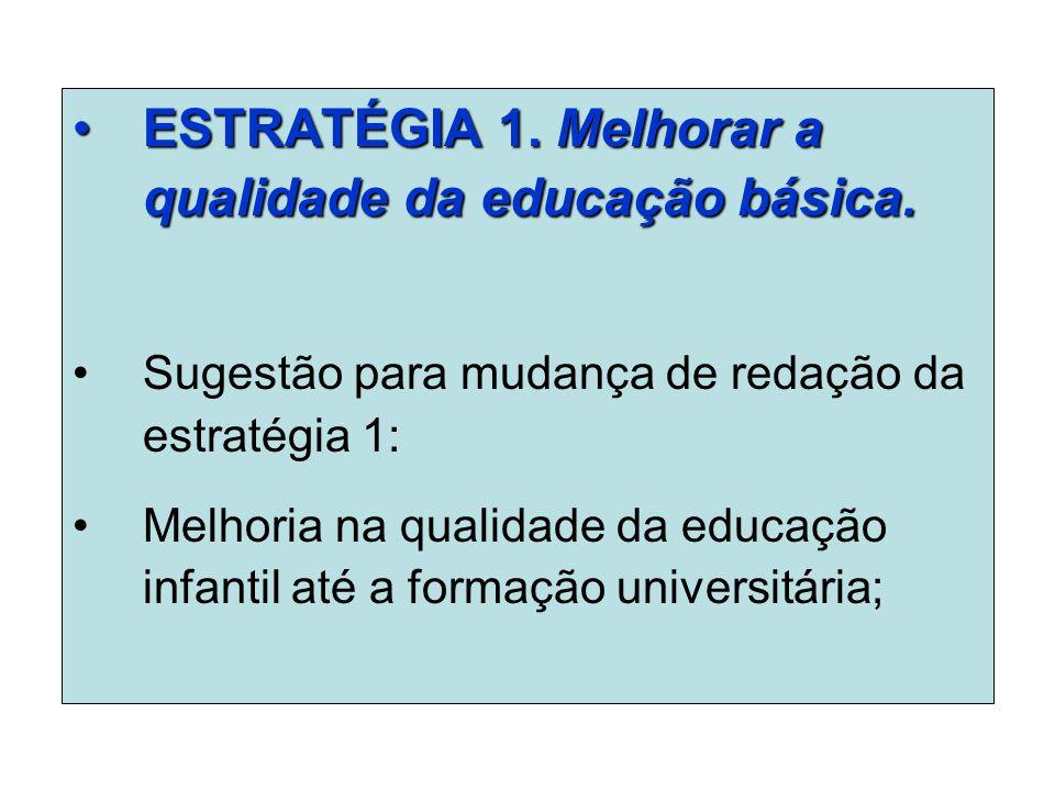 ESTRATÉGIA 1. Melhorar a qualidade da educação básica.ESTRATÉGIA 1.