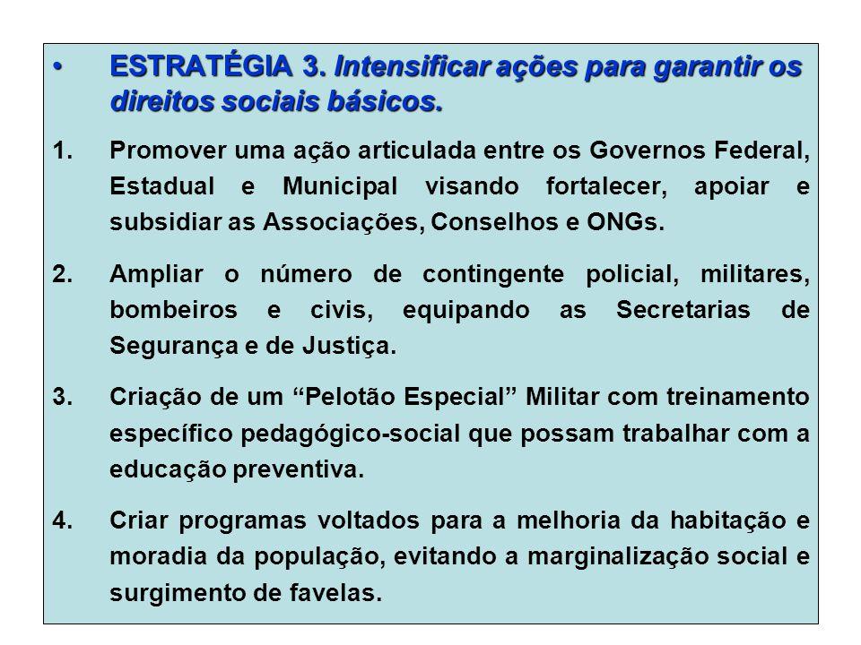 ESTRATÉGIA 3. Intensificar ações para garantir os direitos sociais básicos.ESTRATÉGIA 3.