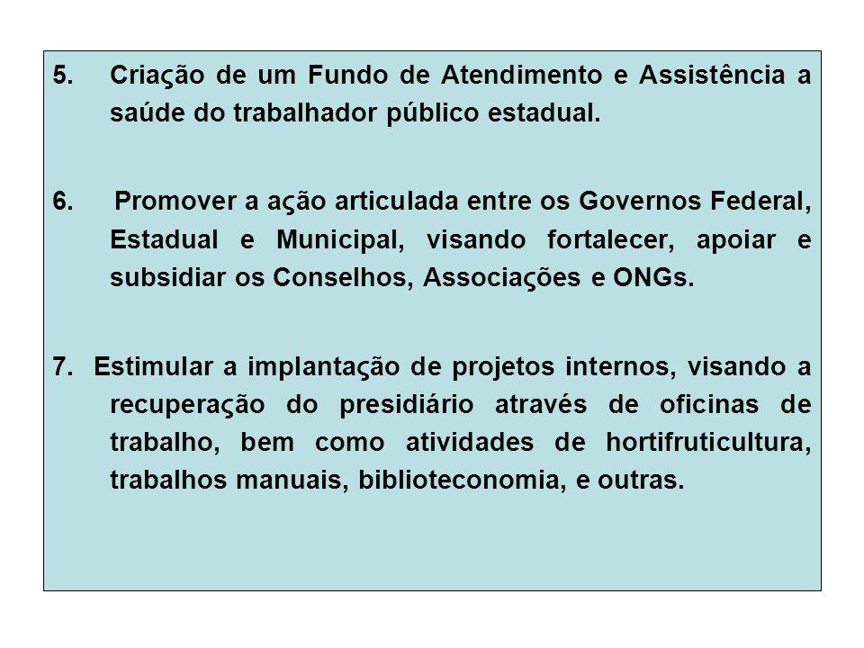 5.Criaςão de um Fundo de Atendimento e Assistência a saúde do trabalhador público estadual.