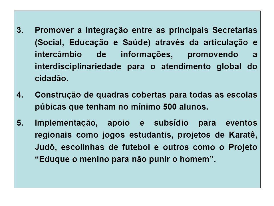 3.Promover a integração entre as principais Secretarias (Social, Educação e Saúde) através da articulação e intercâmbio de informações, promovendo a interdisciplinariedade para o atendimento global do cidadão.