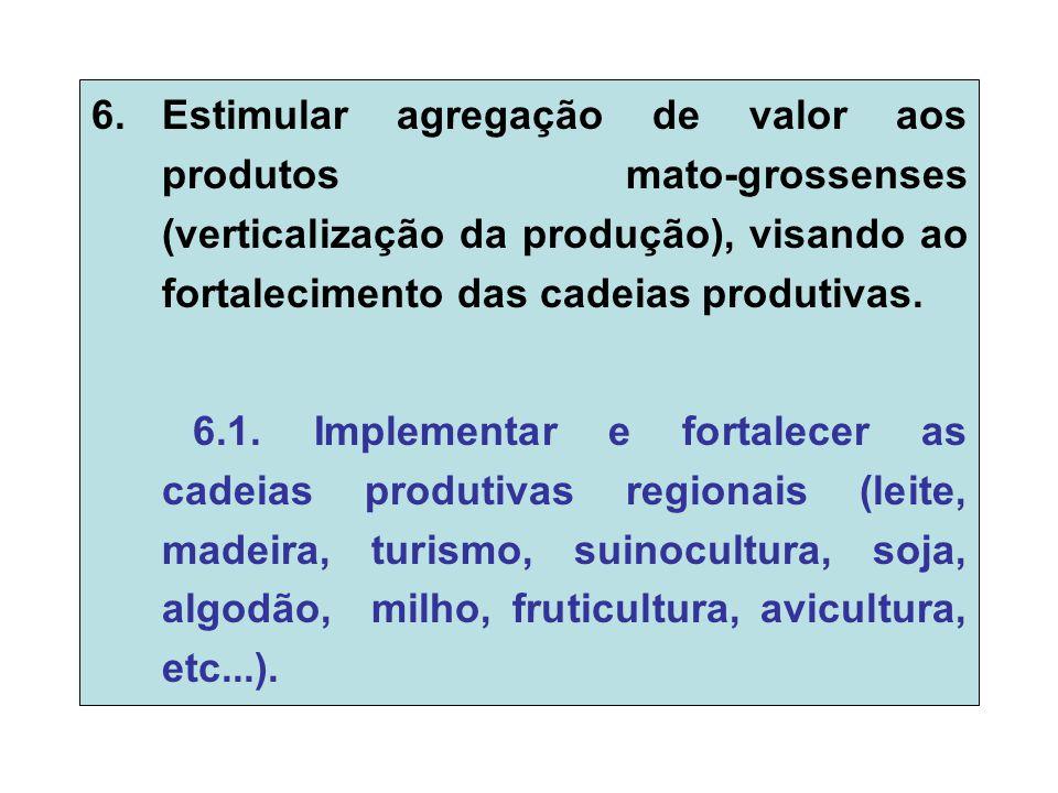 6.Estimular agregação de valor aos produtos mato-grossenses (verticalização da produção), visando ao fortalecimento das cadeias produtivas.