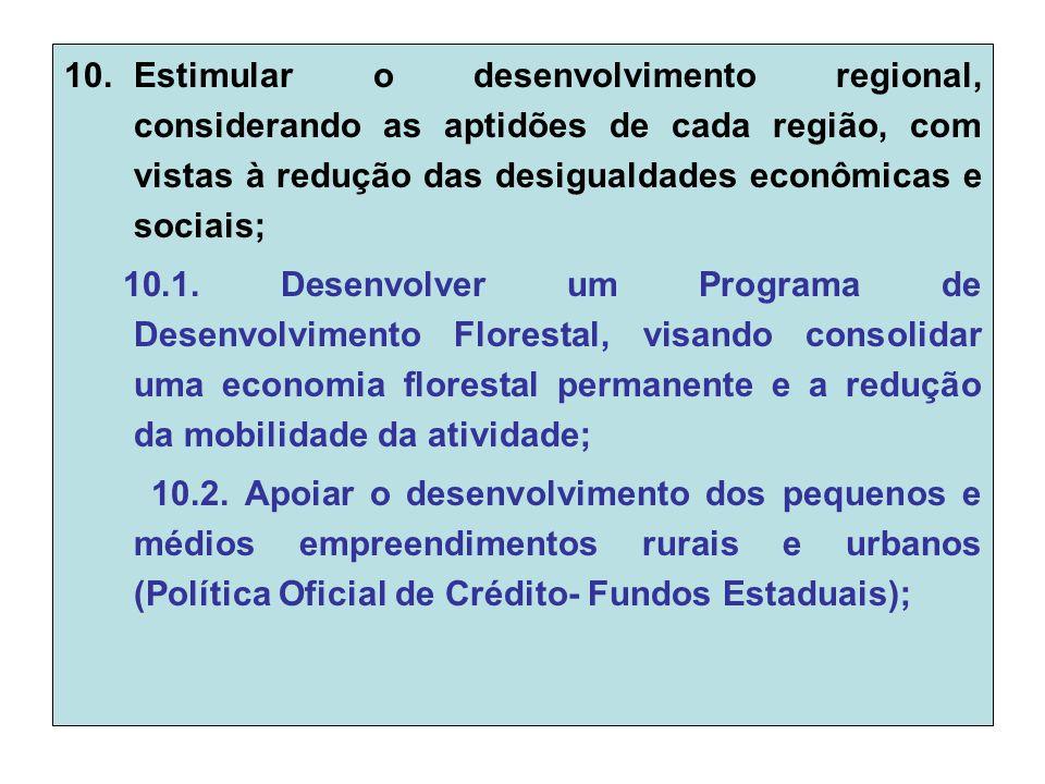 10.Estimular o desenvolvimento regional, considerando as aptidões de cada região, com vistas à redução das desigualdades econômicas e sociais; 10.1.