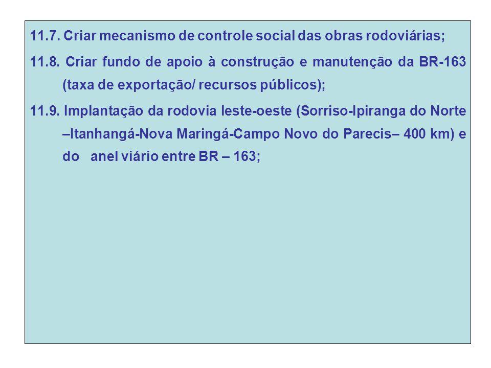 11.7. Criar mecanismo de controle social das obras rodoviárias; 11.8.