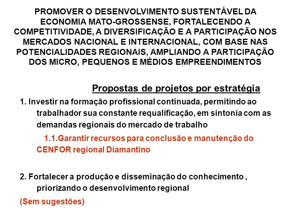 Propostas de projetos por estratégia 1.