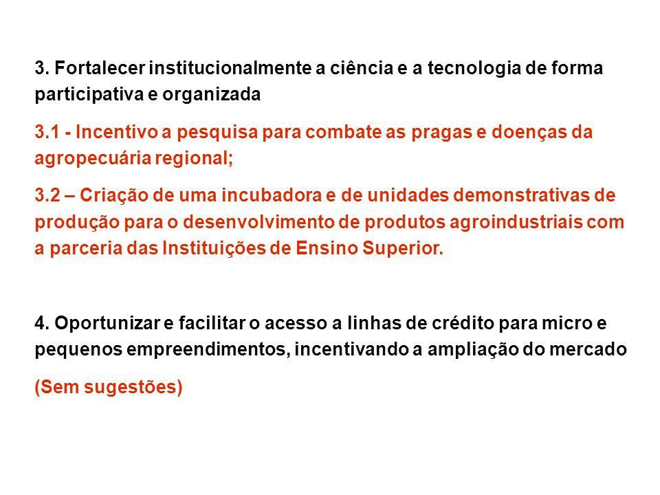 3. Fortalecer institucionalmente a ciência e a tecnologia de forma participativa e organizada 3.1 - Incentivo a pesquisa para combate as pragas e doen