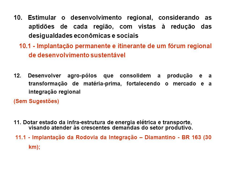 10. Estimular o desenvolvimento regional, considerando as aptidões de cada região, com vistas à redução das desigualdades econômicas e sociais 10.1 -