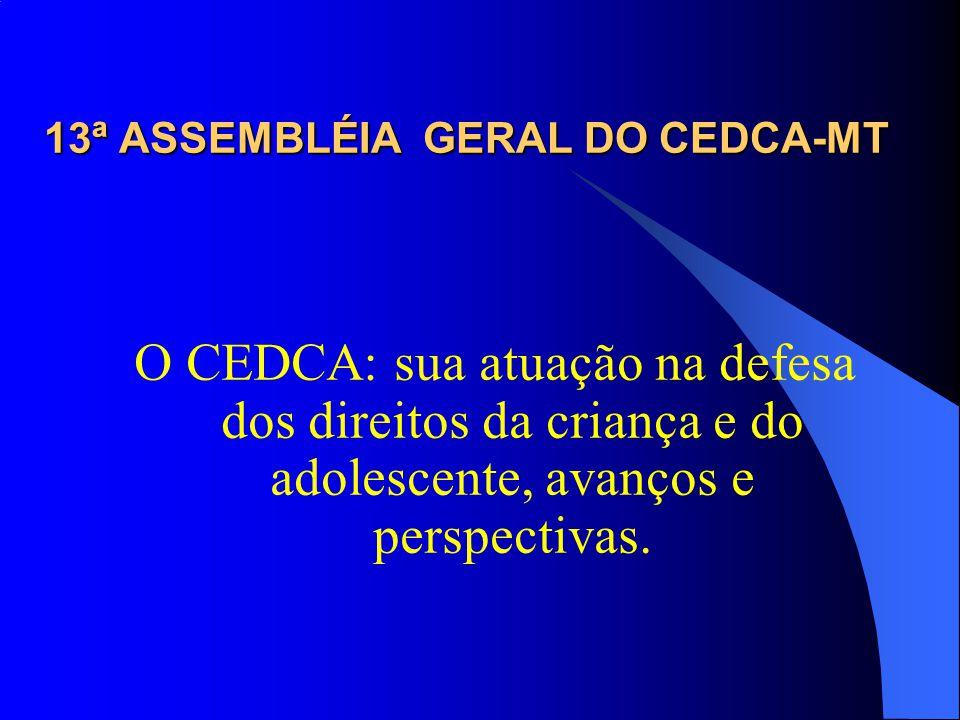 13ª ASSEMBLÉIA GERAL DO CEDCA-MT O CEDCA: sua atuação na defesa dos direitos da criança e do adolescente, avanços e perspectivas.