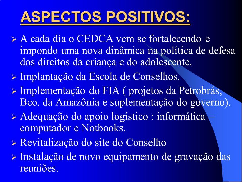 ASPECTOS POSITIVOS: A cada dia o CEDCA vem se fortalecendo e impondo uma nova dinâmica na política de defesa dos direitos da criança e do adolescente.
