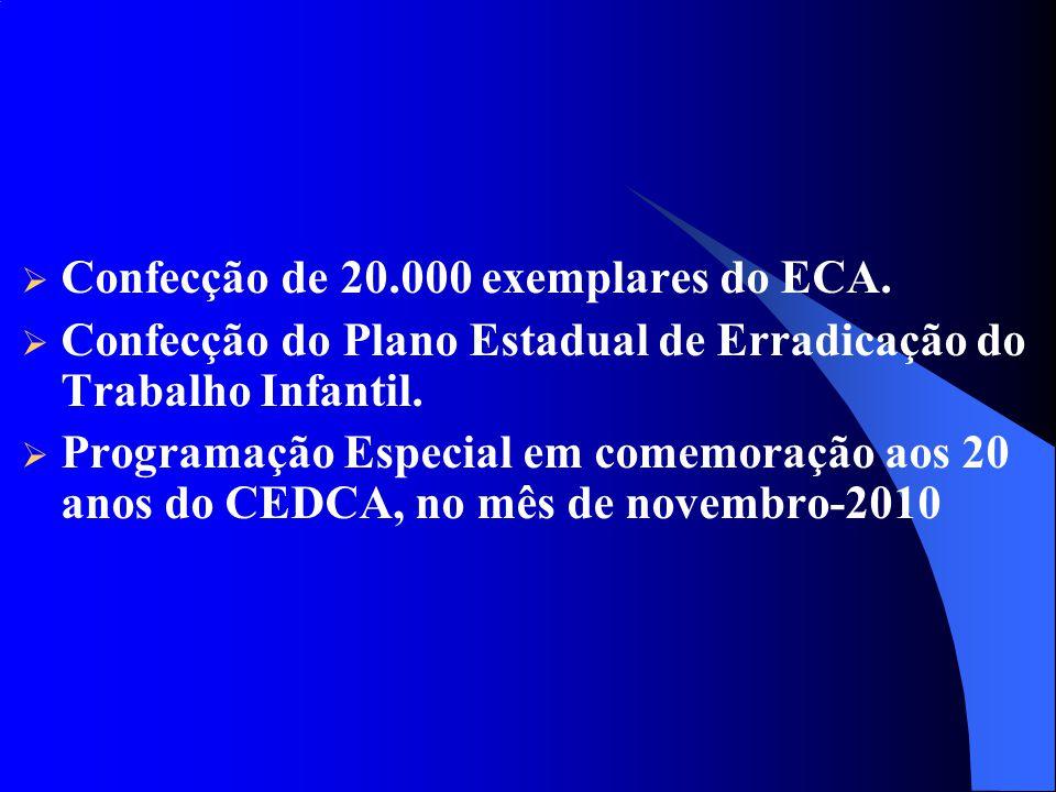 Confecção de 20.000 exemplares do ECA. Confecção do Plano Estadual de Erradicação do Trabalho Infantil. Programação Especial em comemoração aos 20 ano
