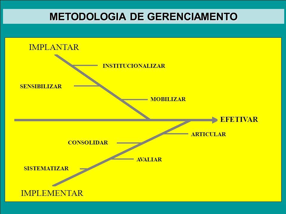 EFETIVAR IMPLANTAR IMPLEMENTAR MOBILIZAR INSTITUCIONALIZAR SENSIBILIZAR ARTICULAR CONSOLIDAR AVALIAR SISTEMATIZAR METODOLOGIA DE GERENCIAMENTO