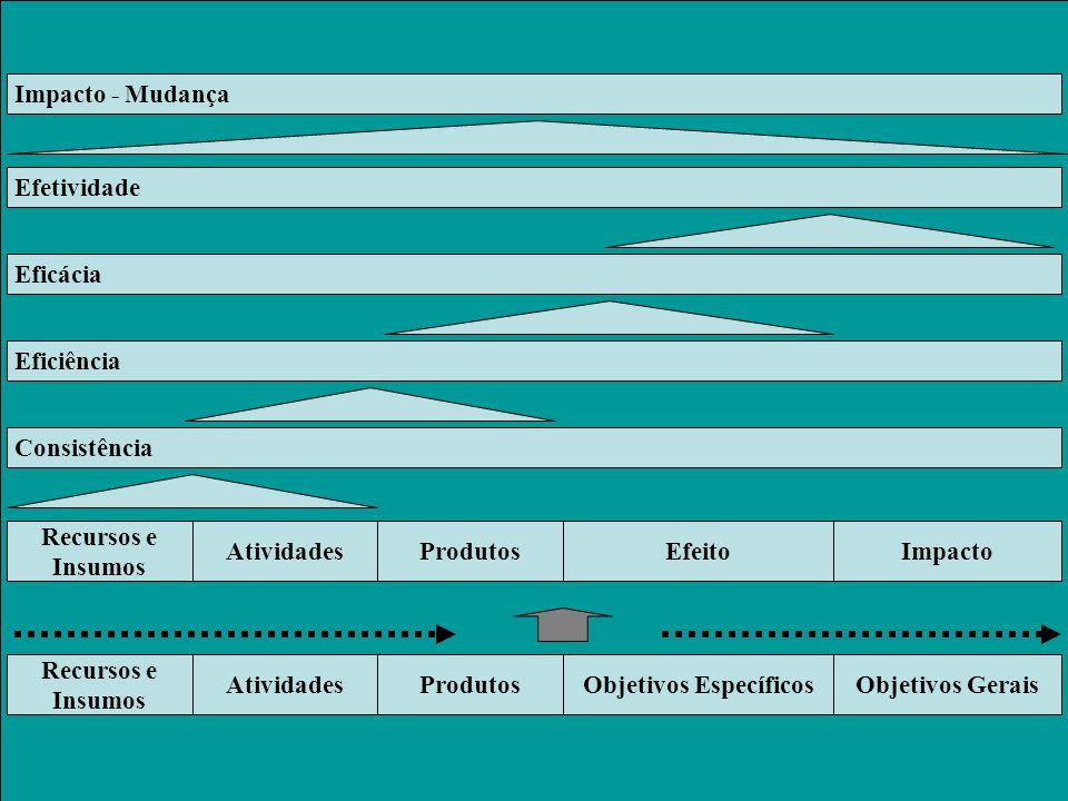 Recursos e Insumos AtividadesProdutosObjetivos EspecíficosObjetivos Gerais Recursos e Insumos AtividadesProdutosEfeitoImpacto Consistência Eficiência Eficácia Efetividade Impacto - Mudança