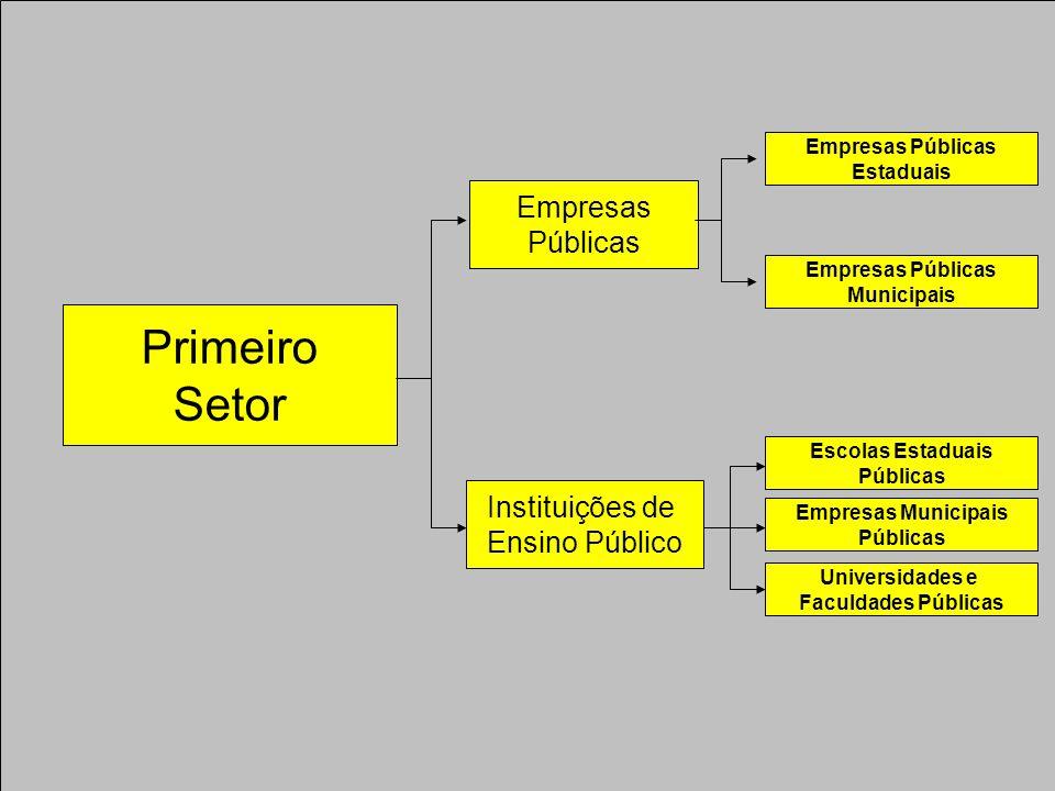Primeiro Setor Empresas Públicas Instituições de Ensino Público Empresas Públicas Estaduais Empresas Públicas Municipais Escolas Estaduais Públicas Empresas Municipais Públicas Universidades e Faculdades Públicas