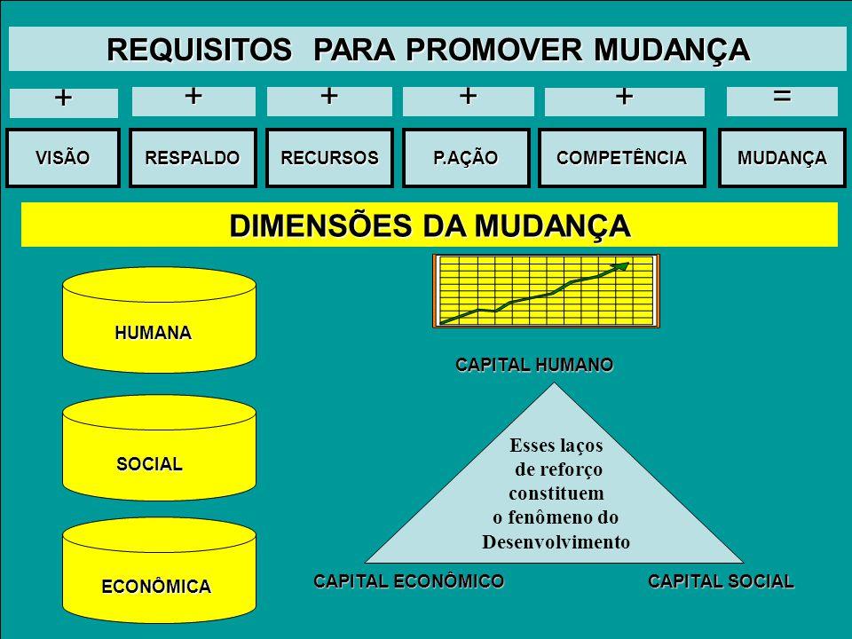 DIMENSÕES DA MUDANÇA HUMANA SOCIAL ECONÔMICA CAPITAL HUMANO CAPITAL SOCIAL CAPITAL ECONÔMICO Esses laços de reforço constituem o fenômeno do Desenvolvimento VISÃOCOMPETÊNCIARESPALDORECURSOSP.AÇÃOMUDANÇA = + + + + + REQUISITOS PARA PROMOVER MUDANÇA